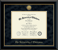 The University of Oklahoma Diploma Frame - Gold Engraved Medallion Diploma Frame in Onyx Gold