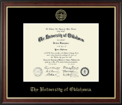 The University of Oklahoma Diploma Frame - Gold Embossed Diploma Frame in Studio Gold
