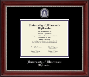 University of Wisconsin Whitewater Diploma Frame - Pewter Masterpiece Medallion Diploma Frame in Kensington Silver