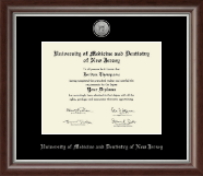University of Medicine and Dentistry of New Jersey Diploma Frame - Silver Engraved Medallion Diploma Frame in Devonshire