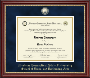 Western Connecticut State University Diploma Frame - Masterpiece Medallion Diploma Frame in Kensington Gold