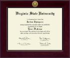 Virginia State University Diploma Frame - Century Gold Engraved Diploma Frame in Cordova