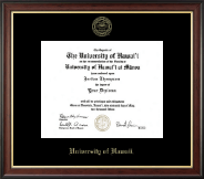 University of Hawaii at Manoa Diploma Frame - Gold Embossed Diploma Frame in Studio Gold