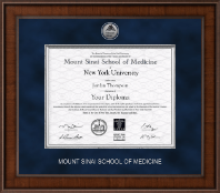 Mount Sinai School of Medicine Diploma Frame - Presidential Silver Engraved Diploma Frame in Madison