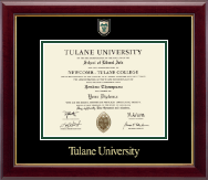 Tulane University Diploma Frame - Associates/Bachelors - Shield Masterpiece Medallion Diploma Frame in Gallery