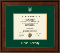 Tulane University Diploma Frame - Associates/Bachelors - Presidential Shield Masterpiece Diploma Frame in Madison
