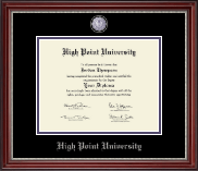 High Point University Diploma Frame - Masterpiece Medallion Diploma Frame in Kensington Silver