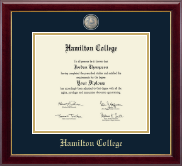 Hamilton College Diploma Frame - Masterpiece Medallion Diploma Frame in Gallery