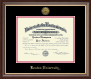 Boston University Diploma Frame - Gold Engraved Medallion Diploma Frame in Hampshire