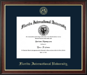 Florida International University Diploma Frame - Gold Embossed Diploma Frame in Studio Gold