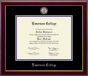 Emerson College Diploma Frame - Masterpiece Medallion Diploma Frame in Gallery