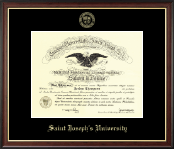 Saint Joseph's University in Pennsylvania Diploma Frame - Gold Embossed Diploma Frame in Studio Gold