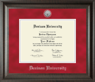 Denison University  Diploma Frame - Silver Engraved Medallion Diploma Frame in Acadia