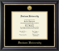 Denison University  Diploma Frame - Gold Engraved Medallion Diploma Frame in Noir