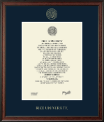Rice University Diploma Frame - Gold Embossed Diploma Frame in Studio