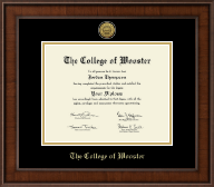 The College of Wooster Diploma Frame - Gold Engraved Medallion Diploma Frame in Madison