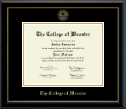 The College of Wooster Diploma Frame - Gold Embossed Diploma Frame in Onyx Gold