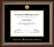 American Mathematical Society Certificate Frame - Gold Engraved Medallion Certificate Frame in Hampshire