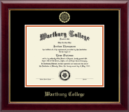 Wartburg College Diploma Frame - Gold Embossed Diploma Frame in Gallery