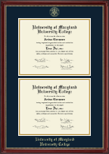 University of Maryland University College Diploma Frame - Double Document Diploma Frame in Kensington Gold