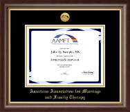 American Association for Marriage and Family Therapy Certificate Frame - Gold Engraved Medallion Certificate Frame in Hampshire
