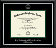 The University of North Carolina Charlotte Diploma Frame - Silver Embossed Diploma Frame in Onyx Silver
