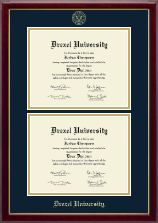 Drexel University Diploma Frame - Double Document Diploma Frame in Gallery