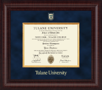 Tulane University Diploma Frame - Associates/Bachelors - Presidential Shield Masterpiece Diploma Frame in Premier