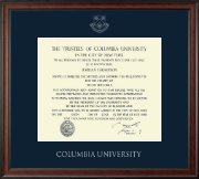 Columbia University Diploma Frame - Silver Embossed Diploma Frame in Studio