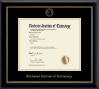Rochester Institute of Technology Diploma Frame - Gold Embossed Diploma Frame in Onyx Gold