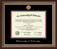 University of Nebraska Diploma Frame - Gold Engraved Medallion Diploma Frame in Hampshire