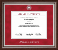Miami University Diploma Frame - Pewter Masterpiece Medallion Diploma Frame in Devonshire