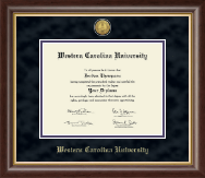 Western Carolina University Diploma Frame - Gold Engraved Medallion Diploma Frame in Hampshire