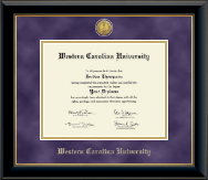 Western Carolina University Diploma Frame - Gold Engraved Medallion Diploma Frame in Onyx Gold