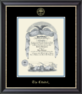 The Citadel The Military College of South Carolina Diploma Frame - Gold Embossed Diploma Frame in Noir