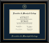 Franklin & Marshall College Diploma Frame - Gold Embossed Diploma Frame in Onyx Gold