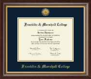 Franklin & Marshall College Diploma Frame - Gold Engraved Medallion Diploma Frame in Hampshire