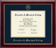 Franklin & Marshall College Diploma Frame - Gold Embossed Diploma Frame in Gallery