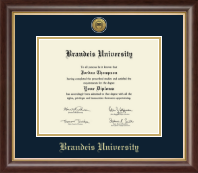 Brandeis University Diploma Frame - Gold Engraved Medallion Diploma Frame in Hampshire