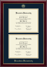 Brandeis University Diploma Frame - Double Document Diploma Frame in Gallery