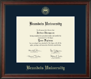 Brandeis University Diploma Frame - Gold Embossed Diploma Frame in Studio