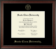 Santa Clara University Diploma Frame - Gold Embossed Diploma Frame in Studio