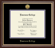 Emerson College Diploma Frame - Gold Engraved Medallion Diploma Frame in Hampshire