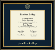 Hamilton College Diploma Frame - Gold Embossed Diploma Frame in Onyx Gold