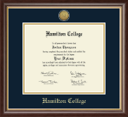Hamilton College Diploma Frame - Gold Engraved Medallion Diploma Frame in Hampshire