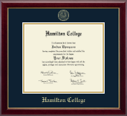 Hamilton College Diploma Frame - Gold Embossed Diploma Frame in Gallery