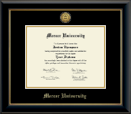 Mercer University Diploma Frame - Gold Engraved Medallion Diploma Frame in Onyx Gold