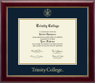 Trinity College Diploma Frame - Gold Embossed Diploma Frame in Gallery