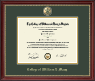William & Mary Diploma Frame - Masterpiece Cypher Logo Medallion Diploma Frame in Kensington Gold