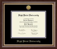 High Point University Diploma Frame - Gold Engraved Medallion Diploma Frame in Hampshire
